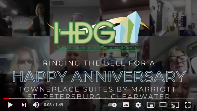 HDG rings the bell to celebrate the anniversary of our TownePlace Suites by Marriott Clearwater